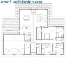 house design small-house-ch232 40   unknown sq ft but there are some nice design elements. I would carve out 1/4 of the master bedroom closet for a pantry, entered from the kitchen side.