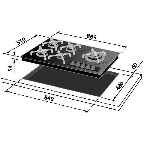 DE LONGHI - NV 59 ASVC Piano Cottura a Gas in Cristallo 5 Zone Cottura Colore Nero - ePrice