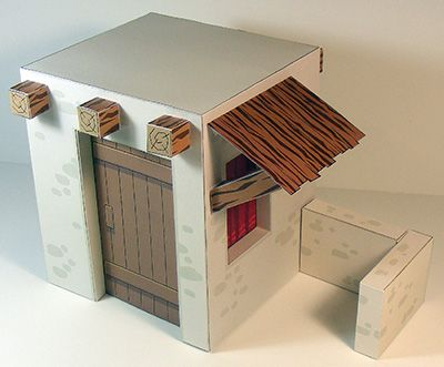 Papercraft de una casa para Belén navideño 1.
