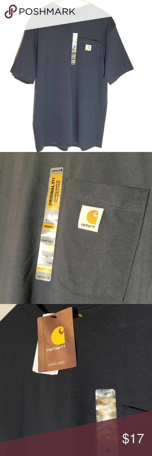 Carhatt NWT workwear pocket tee New with tags. Nice slate blue.  men's heavyweight t-shirt that gives you room to move. An essential basic for a long day on the job, this men's t-shirt is made of comfortable cotton jersey and cut generously for a roomy fit.  Rib-knit crewneck holds its shape throughout the workday.  Side-seam construction minimizes twisting.  Tagless neck label. Carhartt Shirts Tees - Short Sleeve