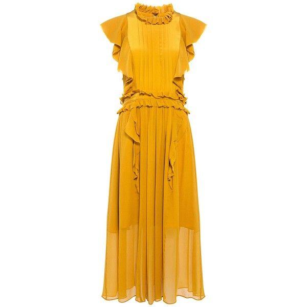 Marissa Webb - Florence Silk Ruffle Midi Dress ($575) ❤ liked on Polyvore featuring dresses, frill dress, yellow ruffle dress, calf length dresses, mid calf dresses and midi dress
