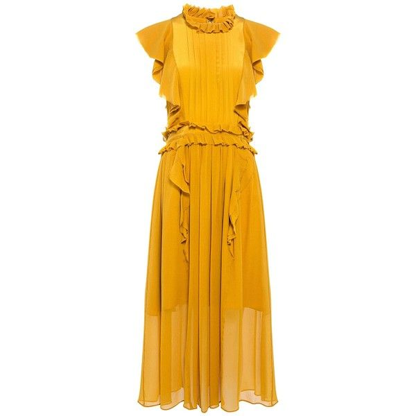 Marissa Webb - Florence Silk Ruffle Midi Dress (£470) ❤ liked on Polyvore featuring dresses, flounce dress, flutter-sleeve dress, yellow dress, frilled dress and ruffle midi dress
