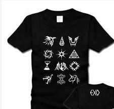 Korea KPOP EXO SMTOWN All Member Logo Black /white Print Short Sleeve T-shirt
