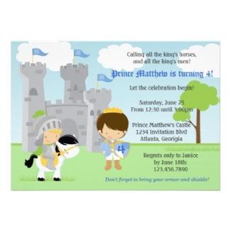 Cute Prince and Knight Birthday Party invitation #invite #card #fun