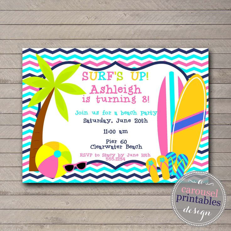 25 best ideas about Beach party invitations – Beach Theme Party Invitations
