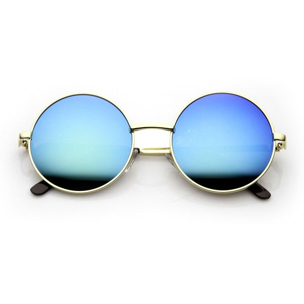Retro Hippie Round Flash Mirror Lens Metal Sunglasses 9636 (£7.60) ❤ liked on Polyvore featuring accessories, eyewear, sunglasses, glasses, mirrored sunglasses, metal-frame sunglasses, rounded sunglasses, round mirror sunglasses and retro mirrored sunglasses