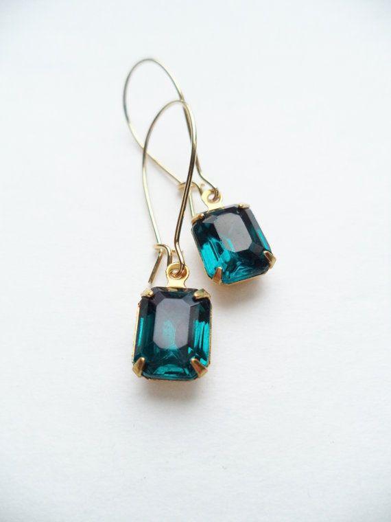 Vintage Earrings Glass Dangles Blue Teal by SPARKLESandSASS