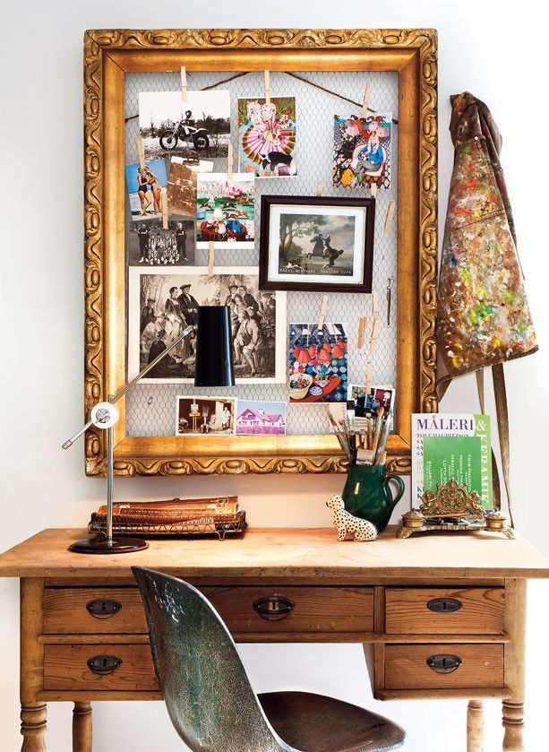 "Vintage frame reused with wire mesh to create an ""inspiration board."""
