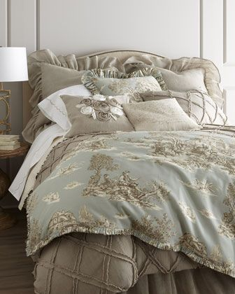 """""""Spa Toile"""" Bed Linens by Lili Alessandra at Horchow."""
