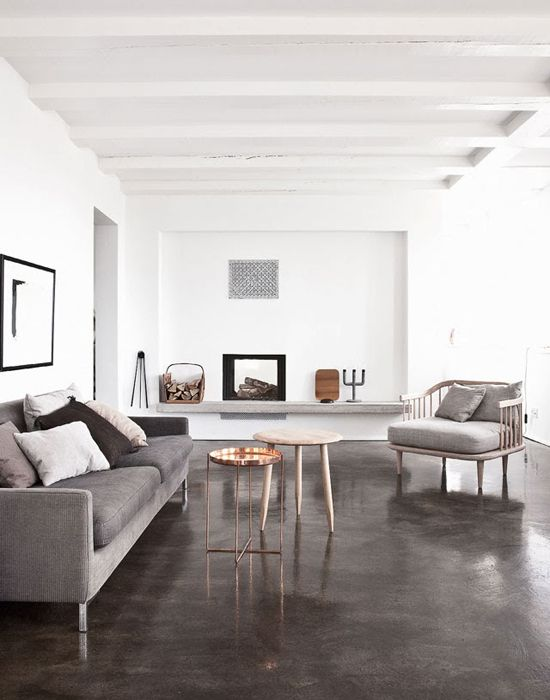 perfect living room concrete floors, copper table
