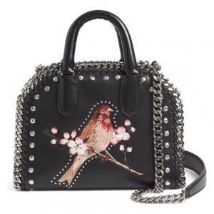 Stella McCartney Mini Black Bird-and-Flower Falabella Embroidered Tote - 40% Off
