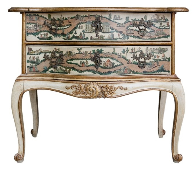 "Italian decoupage ""lacca povera"" commode with two drawers. 19th century on later stand."