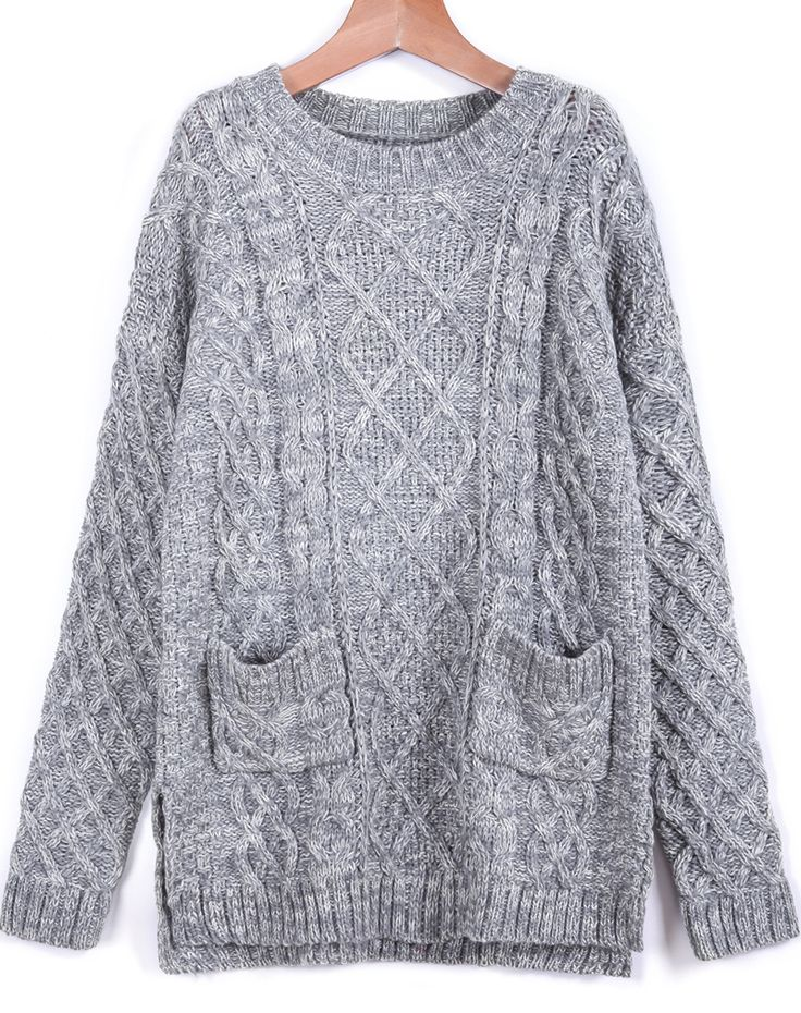 Grey Long Sleeve Pockets Cable Knit Sweater 25.00  For Ash