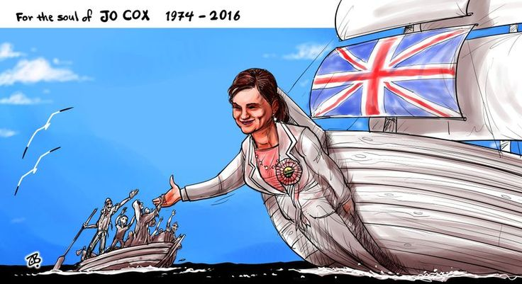 Emad Hajjaj (2016-06-18) UK: Farewell Jo Cox. To the soul of #JoCoxMP , We will never forget you
