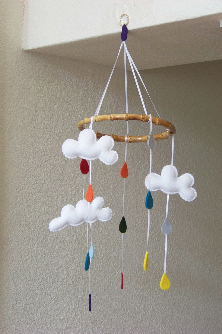 "Baby Mobile - Baby Crib Mobile - Cloud Mobile - Nursery Baby Room ""Drip Drop"" (You can pick your colors). $60.00, via Etsy."