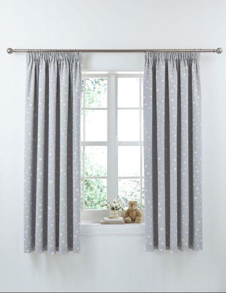 Star Print Pencil Pleat Curtains   M&S