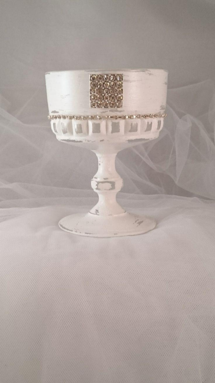 Candle Holder white Vintage Glass Desert Stemmed Sundae Dish Diamante Wedding Candle Gift Idea Garden Light Tealight Holder Table Decoration by LouLaBelleG on Etsy