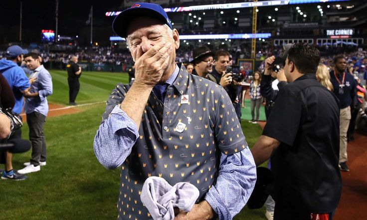 Bill Murray reacts to Cubs win- 2016 World Series. Pure Joy!
