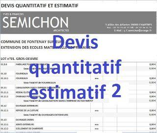 Devis Quantitatif Estimatif Excel Exemple Devis Devis Batiment Batiment