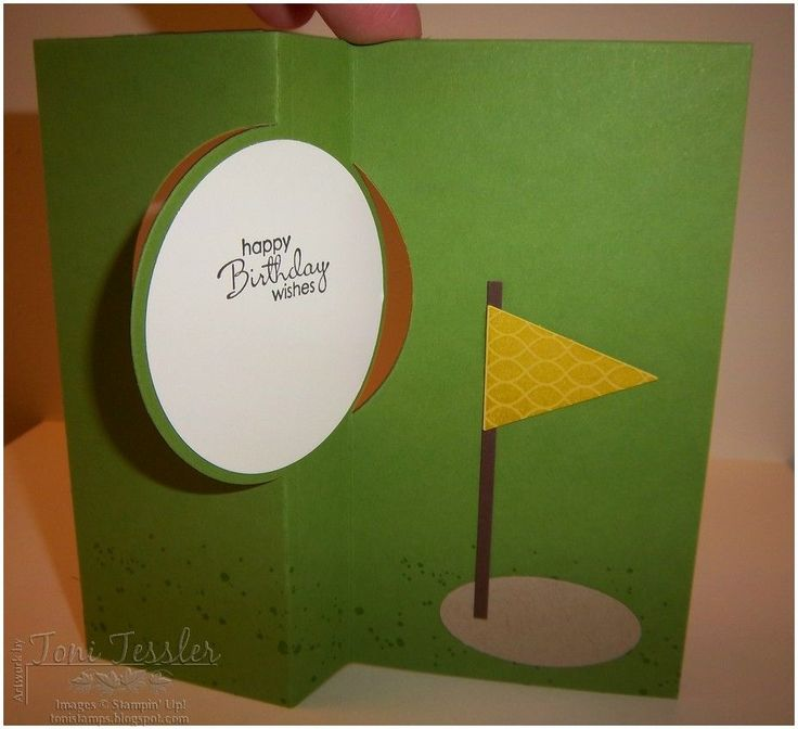 I made a bunch of these golf ball flip cards, and I love them!  ANY sports ball will make a great flip card with the Circles Card Thinlits...