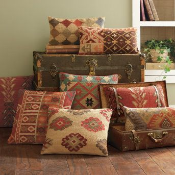 I love these patterns...bt they are hard to integrate. grandin road kilim pillows