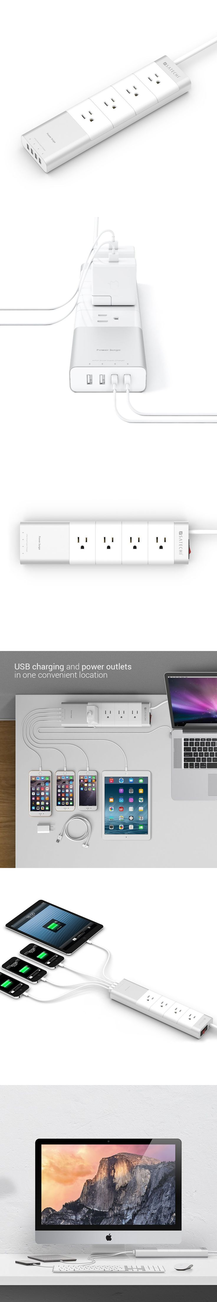 Keep all your power right where you need it with the Satechi Aluminum power strip. The 4 AC power outlets make it easy to conserve energy; equipped with IC smart technology, the strip automatically adjusts the power being used to match your devices' requirements. Plus, the 4 additional USB charging ports eliminate the restrictions caused by single-port wall adapter for easy clutter-free charging!