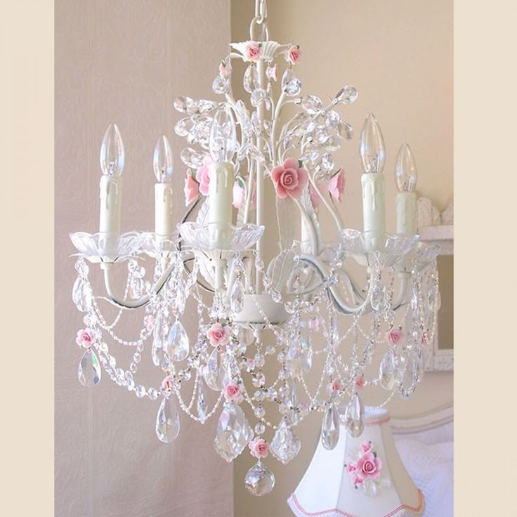 Exquisite Rose 6 Light Crystal Chandelier With Pink