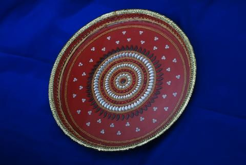 """Steel Aarti thaali, design is protected by glass. It can also be used as decorated tray. Available in different sizes and designs Steel thaali, glass, kundan work used. Diameter: 11"""""""