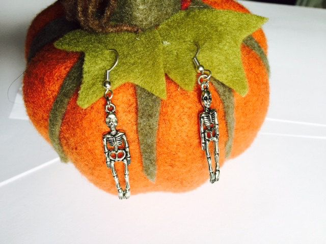 Halloween - Skeleton Earrings - Fancy Dress - Sterling Silver or Silver Plated by Makewithlovecrafts on Etsy