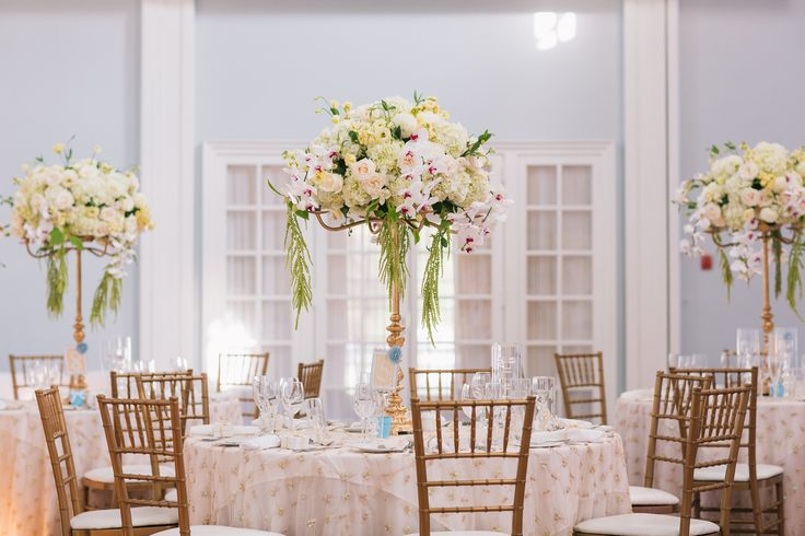 Centrepieces -  Floral Arrangement - Hydrangeas, Roses, Dhalias, phalaenopsis orchids on top of a gold candelabra  http://www.fusion-events.ca/