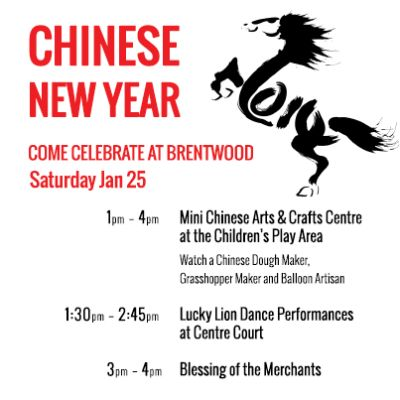 Chinese New Years at Brentwood Town Centre begins Sat, 25 Jan 2014 at Brentwood Town Centre #Family, Community, Performing Arts, Entertainment, Cultural Burnaby