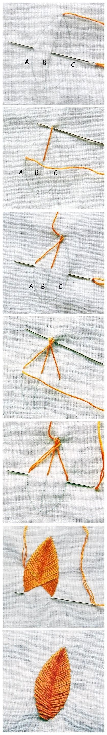 Embroidery tutorial for making a gorgeous leaf. Saw these in Sew Beautiful a few years ago and they're easy and gorgeous once you get the hang of it!