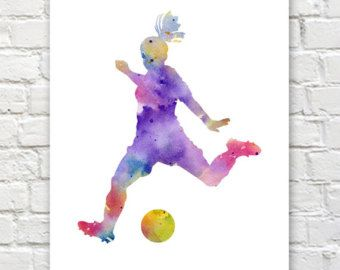 Soccer Player Art Print Abstract Watercolor by 1GalleryAbove