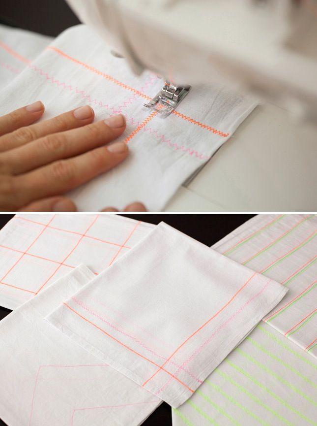DIY neon pattern tea towels