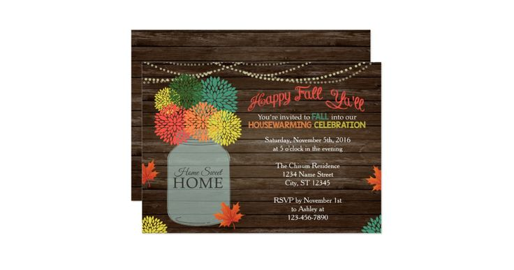 This festive housewarming invitation is perfect for the Autumn season! Please message me if you need any customizations (i.e. color changes, verbiage changes, background changes, etc). I can also make coordinating address labels or envelope seals. Sometimes Zazzle can be tricky, so if you have any trouble formatting your card, just message me and I will gladly help! Make sure to see the other coordinating items in my Fall Collection. Ashley Owner, Designer ashley.chisum@outlook.com