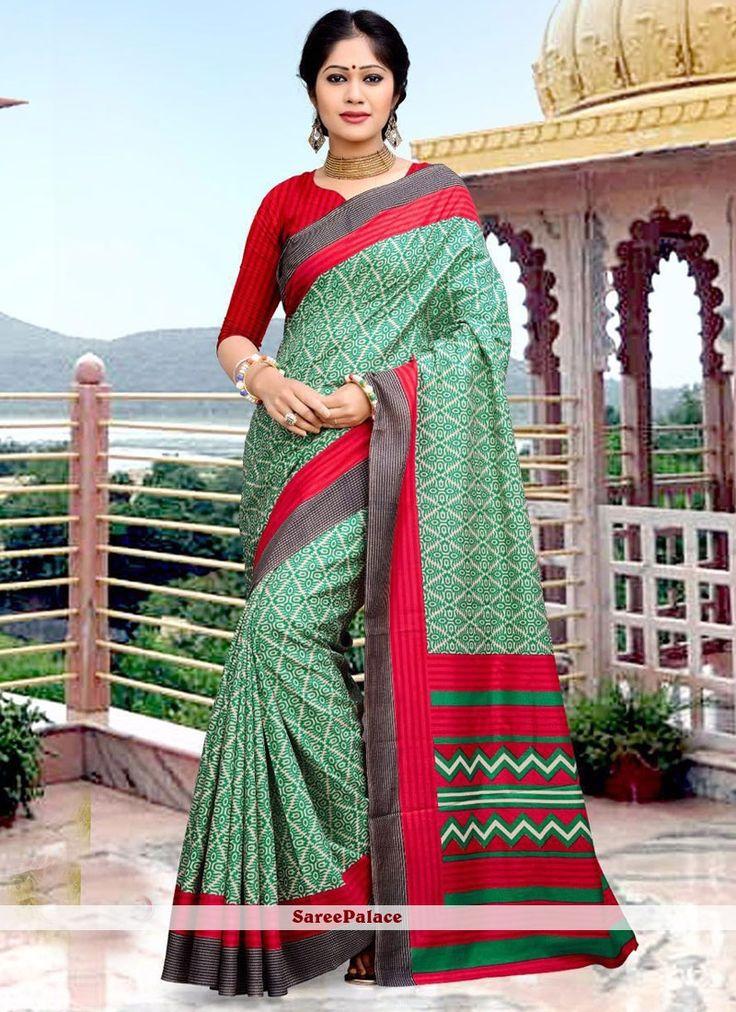 Modernistic Sea Green Art Silk Printed Saree
