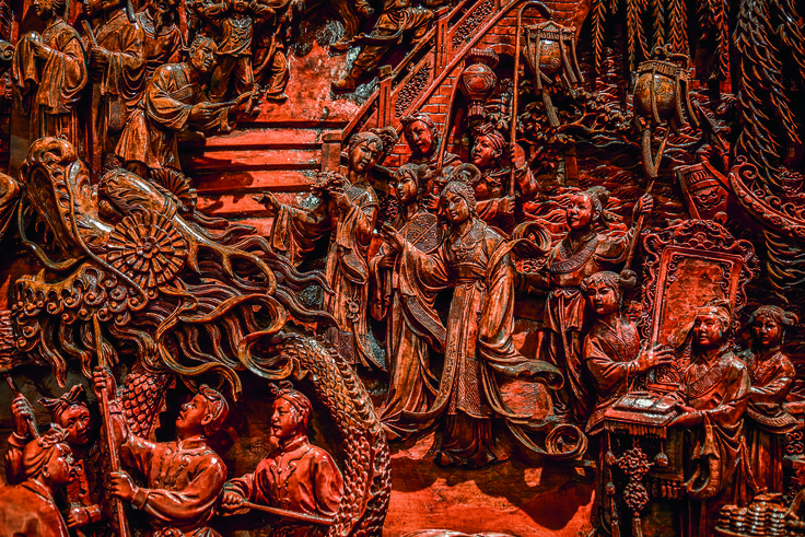 Melbourne's Chinese Museum RoyalAuto February, 2016. Detail of wooden screen depicting Chinese Lantern Festival. Photo: Anne Morley. #ChineseNewYear #Chinatown #MelbourneChineseMuseum