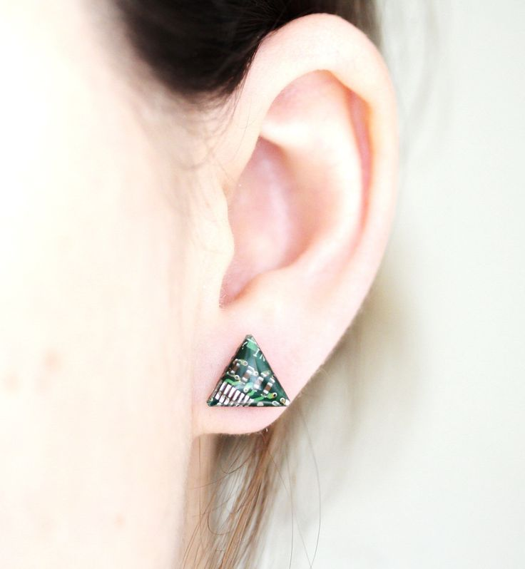Triangle stud earrings are made for girls who like to become the center of attraction. These studs are a wonderful choice for geeky person or just if you are crazy about cute and unique jewelry. These