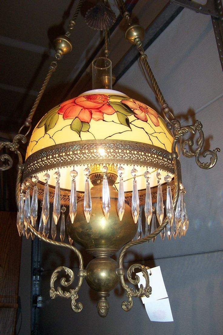85 best antique lamps images on pinterest chandeliers night antique brass and prism hanging parlor lamp arubaitofo Images