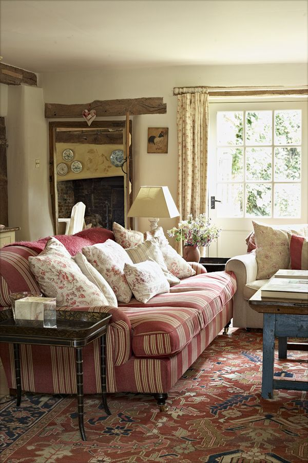 Lovely mixture of stripes and vintage florals against off white walls