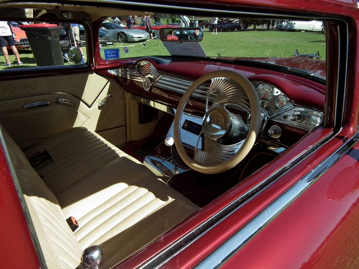 https://flic.kr/p/eg9dp5 | 1955 Chevrolet Belair custom pickup | 1955 Chevrolet Belair custom pickup interior. Taken at the 2013 General Motors Display Day, held in the grounds of Penrith Panthers Club, Penrith NSW.