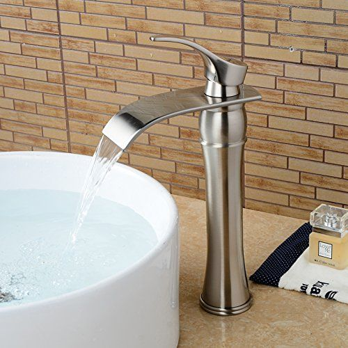 Wovier Brushed Nickel Waterfall Bathroom Sink Faucet,Single Handle Single Hole Vessel Lavatory Faucet,Basin Mixer Tap Tall Body