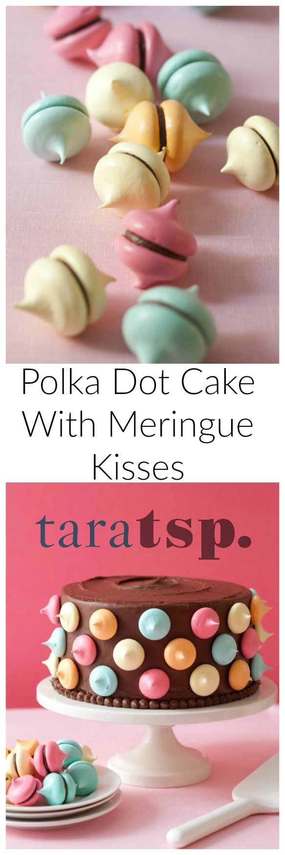 Rich chocolate frosting gets covered with light and crispy meringue kisses to make the most fun polka dot cake you'll ever make.