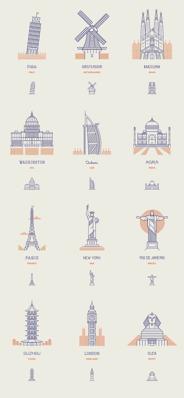 Icon and beautiful line work by http://themakers.company/world-landmarks.html