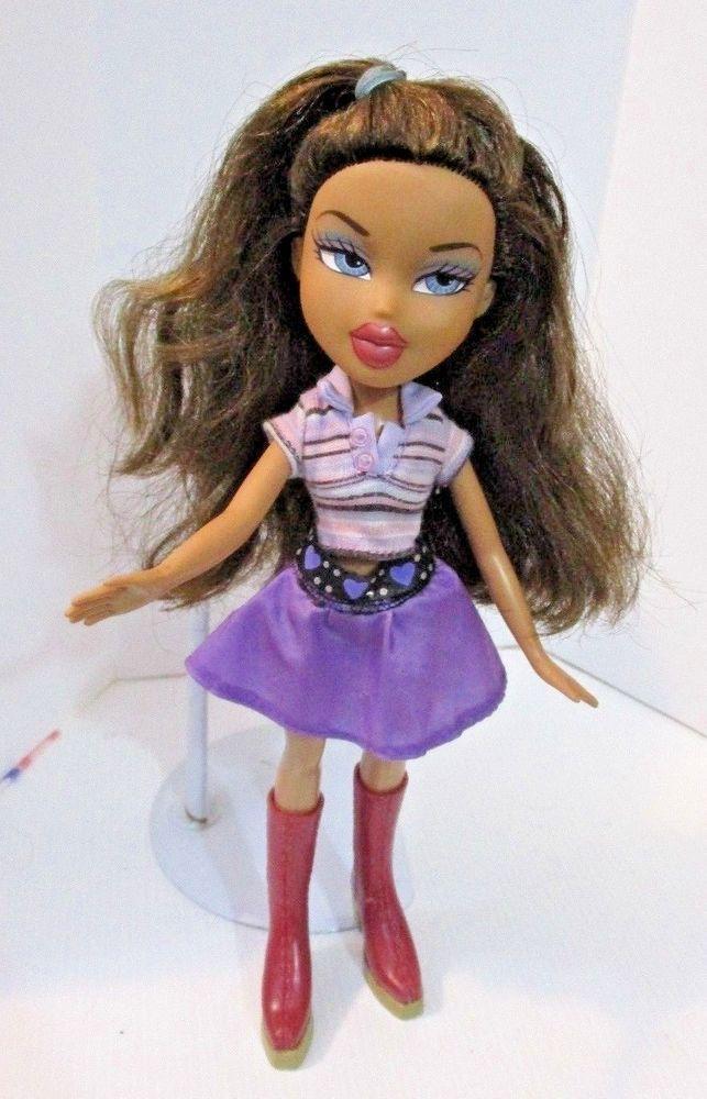 Bratz Doll Long Dark Brown Hair She Has Striped Top Purple Skirt Cherry Boots Dark Brown Hair Bratz Doll Purple Skirt