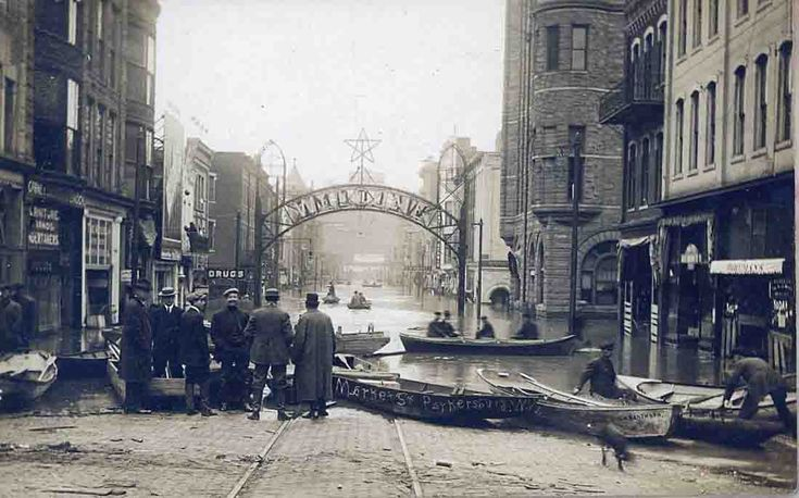 Parkersburg downtown during the 1913 Flood - from: mackey's antique clock repair parkersburg wv