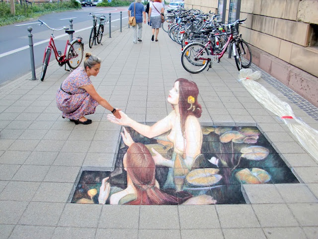 3-d street art. illusion