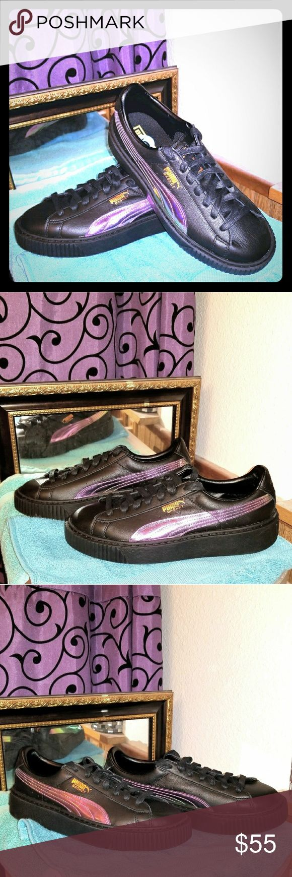 😎NEW BLACK HOLOGRAPHIC PUMAS👣🤹♀️ Black leather with holographic iridescent swoosh  Kids size 6 fits like women's size 7.5-8 Is my guess.  Way too big for me, I'm usually between 6-7 myself  Thicker platform style soles New never worn Great looking, great quality shoes Puma Shoes Sneakers
