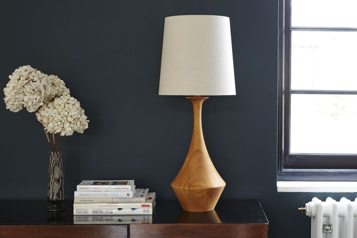 Natural Asilah lamp base from Copper & Silk - inspired by traditional wood-turning methods from North Africa.