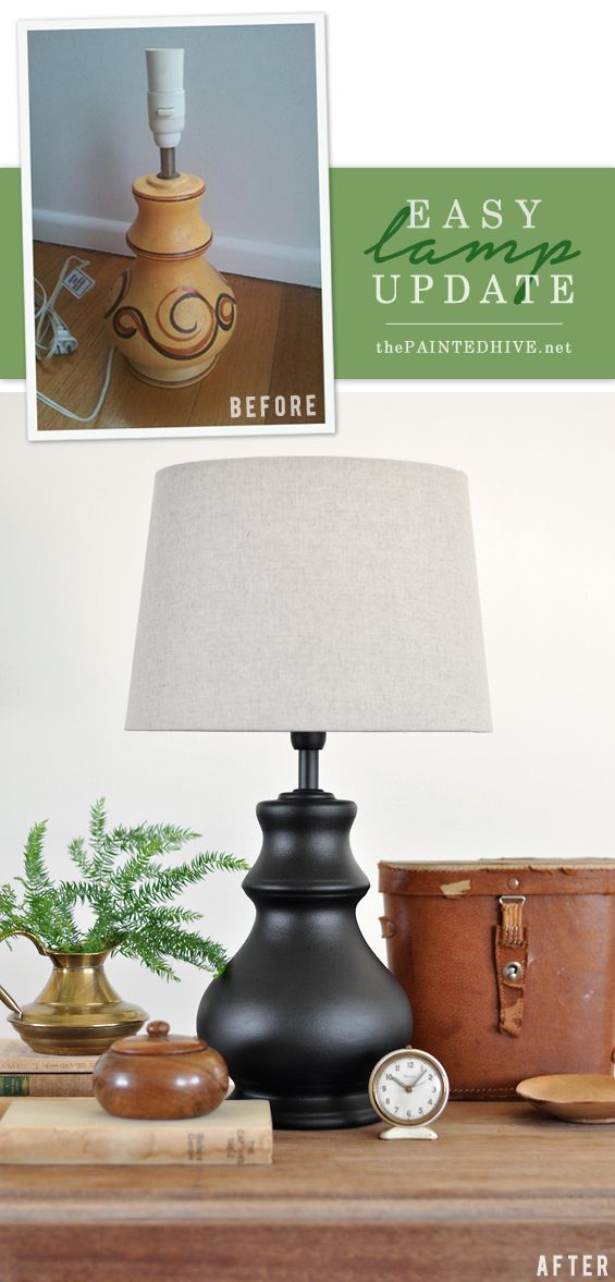A Super Easy Lamp Update Diy Lamp Makeover Lamp Makeover Painting Lamps